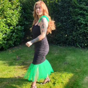 Mariella Black Jersey Dress With Green Tulle Straps (1)