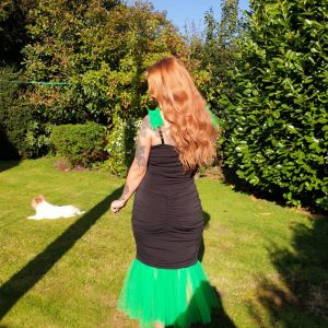Mariella Black Jersey Dress With Green Tulle Straps (2)