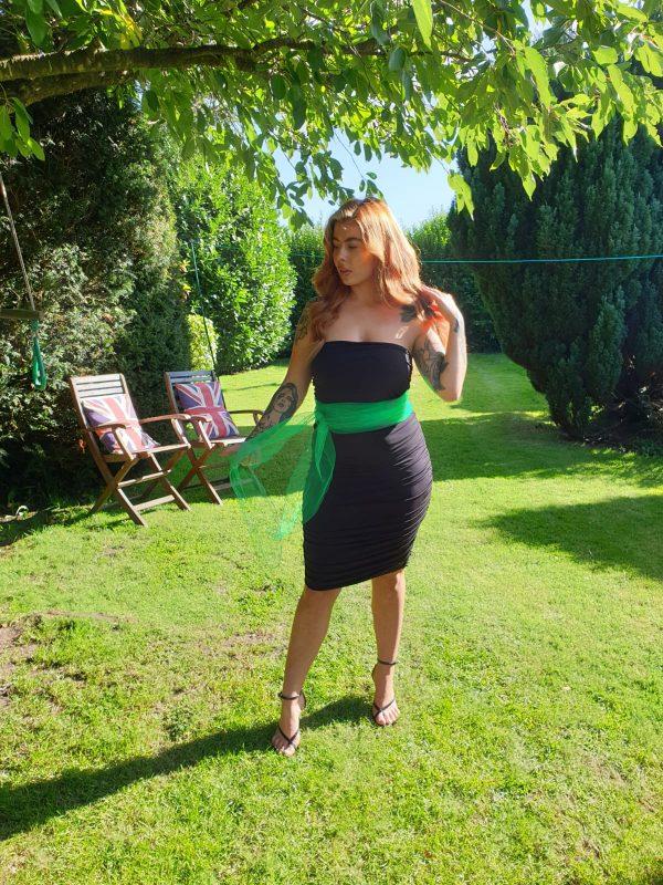 Mariella Black Jersey Dress With Green Tulle Tie Belt (1)