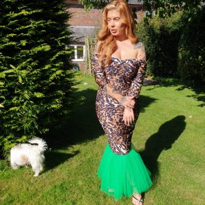 Mariella Leopard Print & Green Tulle Dress (1) - by we are curves clothing