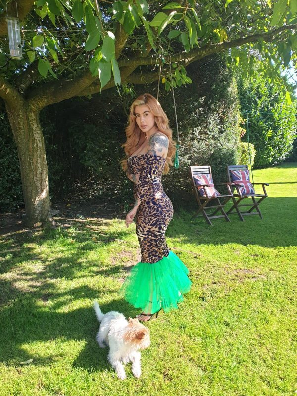 Mariella Leopard Print & Green Tulle Dress (2) - by we are curves clothing