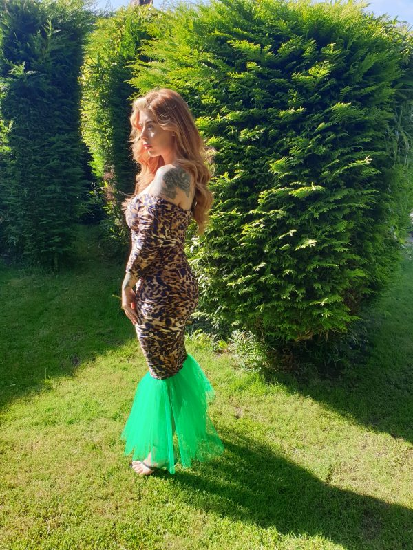 Mariella Leopard Print & Green Tulle Dress - by we are curves clothing