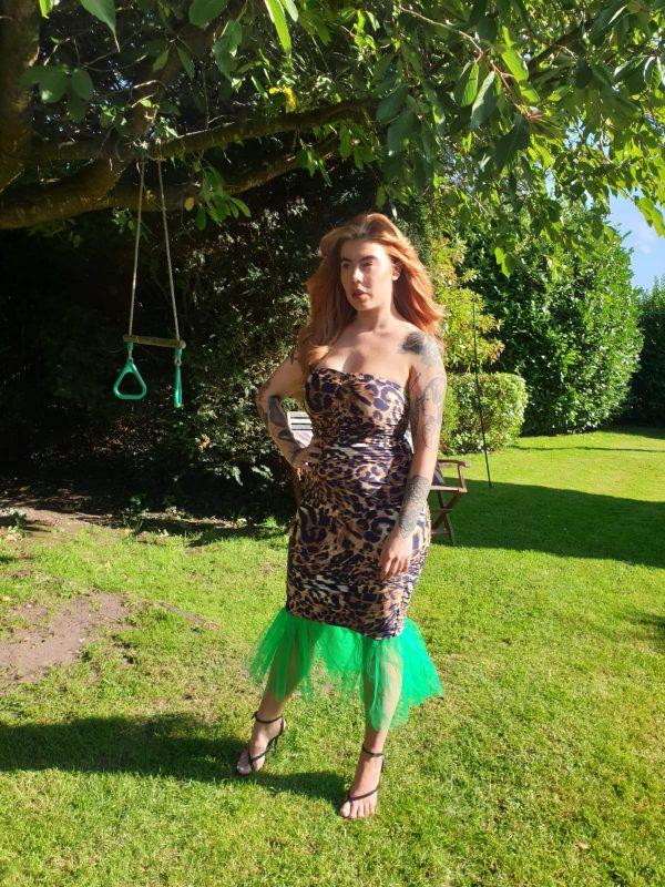 Mariella Leopard Print Jersey & Green Tulle Sleevless Dress (1)