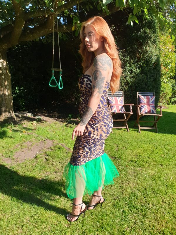 Mariella Leopard Print Jersey & Green Tulle Sleevless Dress - by we are curves clothing