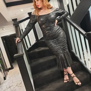 Black wet look dress - by We Are Curves Clothing