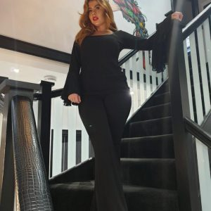 black chiffon top - by We Are Curves clothing