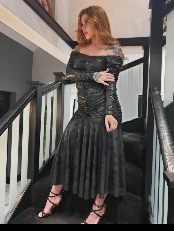 Black stretch wetlook dress - by We Are Curves Clothing