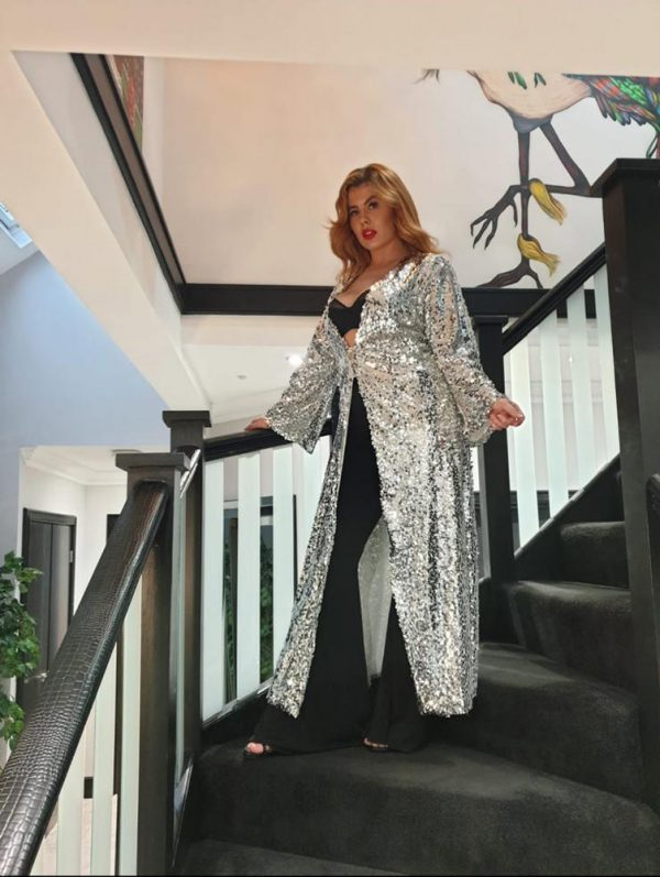silver sequin maxi coat by we are curves clothing
